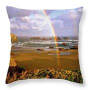 Bandon Beach Rainbow Sunrise Throw Pillow by Ed  Riche