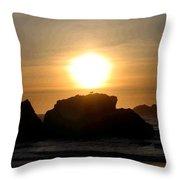 Bandon Beach Silhouette Throw Pillow by Will Borden