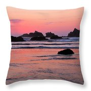 Bandon Beach Sunset Silhouette Throw Pillow