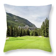Banff Springs Golf And The Castle Throw Pillow