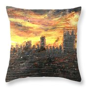 Bangkok City Sunset Glow Throw Pillow