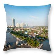 Bangkok Senic Throw Pillow by Atiketta Sangasaeng