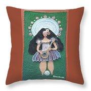 Banjo Lady Throw Pillow