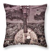 Banjo Mandolin On Garden Wall Throw Pillow by Bill Cannon
