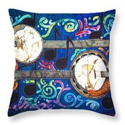 Banjos - Bordered Throw Pillow