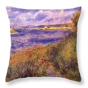 Banks Of The Seine At Champrosay Throw Pillow