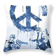 Banksy Soldiers-blue Throw Pillow