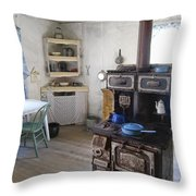 Bannack Ghost Town  Kitchen And Stove - Montana Territory Throw Pillow