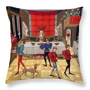 Banquet, 15th Century Throw Pillow
