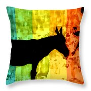 Bansky In Colors Throw Pillow