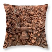 Banteay Srei Bas Relief Carvings - Cambodia Throw Pillow
