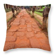 Banteay Srei Red Sandstone Road - Cambodia Throw Pillow