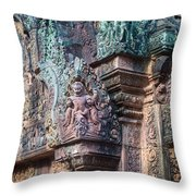 Banteay Srey Temple Bas Relief Details Throw Pillow