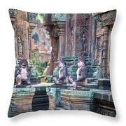 Banteay Srey Temple Pink Monkeys Throw Pillow
