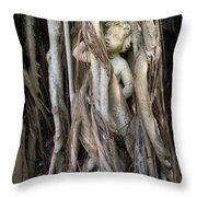 Banyan Grows Over Statue Throw Pillow