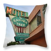 Banyan Tree Motel Throw Pillow