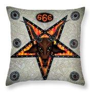 Baphomet - Satanic Pentagram - 666 Throw Pillow