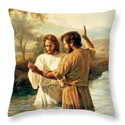 Baptism Of Christ Throw Pillow by Greg Olsen