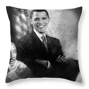 Barack Obama Martin Luther King Jr And Malcolm X Throw Pillow