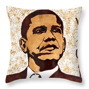 Barack Obama Words Of Wisdom Coffee Painting Throw Pillow by Georgeta  Blanaru