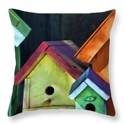 Barbara's Birdhouses Throw Pillow