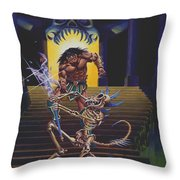 Barbarian And Skeleton Wizard Throw Pillow