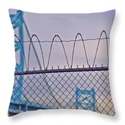 Barbed Wire Bridge Throw Pillow