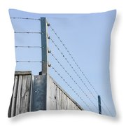 Barbed Wire Fence Throw Pillow