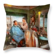 Barber - Getting A Trim 1942 - Side By Side Throw Pillow