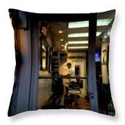 Barber Shop At Closing Time Throw Pillow