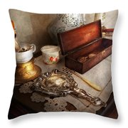 Barber - The Morning Ritual Throw Pillow by Mike Savad