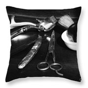 Barber - Things In A Barber Shop - Black And White Throw Pillow