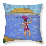 Barb's Beach Waving Throw Pillow