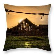 Barbwire Barn Throw Pillow