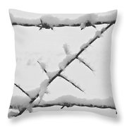 Barbwire Fence In Snow 1 Throw Pillow