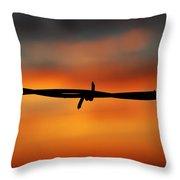 Barbwire Sunset Throw Pillow