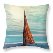 Barca Al Chiar Di Luna Throw Pillow