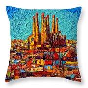 Barcelona Abstract Cityscape - Sagrada Familia Throw Pillow