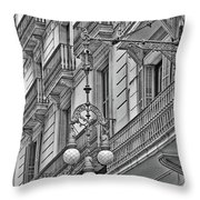 Barcelona Balconies In Black And White  Throw Pillow