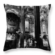 Barcelona Cathedral Interior Bw Throw Pillow