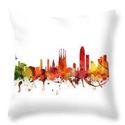 Barcelona Cityscape 04 Throw Pillow