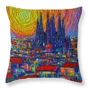 Barcelona Colorful Sunset Over Sagrada Familia Abstract City Knife Oil Painting Ana Maria Edulescu Throw Pillow
