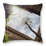 Barcelona Courtyard With Palm Tree Throw Pillow