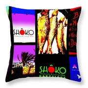 Barcelona Funky Food Joints  Throw Pillow