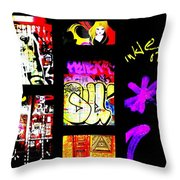 Barcelona Graffiti  Throw Pillow by Funkpix Photo Hunter