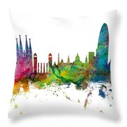 Barcelona Spain Skyline Panoramic Throw Pillow
