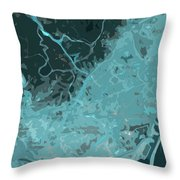 Barcelona Traffic Abstract Blue Map Throw Pillow