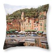 barche a Portofino Throw Pillow