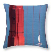 Barcode Of The Bay Scanned With Sails On A Beautiful Day Throw Pillow