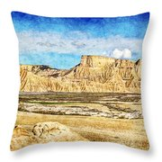Bardenas Desert Panorama 3 - Vintage Version Throw Pillow